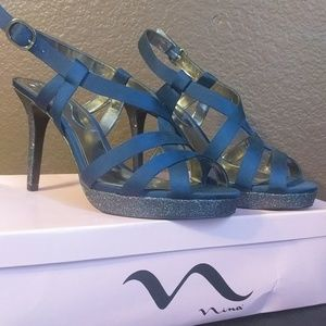 Nina Shoes Navy Blue heels Size 10M